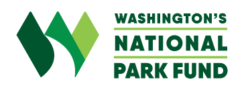Washington's National Park Fund logo in green, bold font and large artistic W