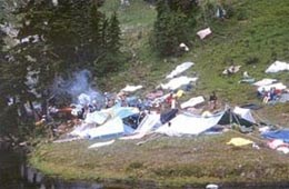 Campers on meadows at Heart Lake 1969