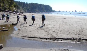 Hikers on Wilderness Coast