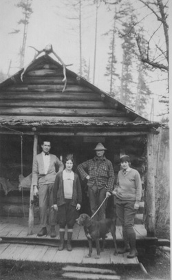 Grant Humes and others on the porch of Humes Ranch in 1926
