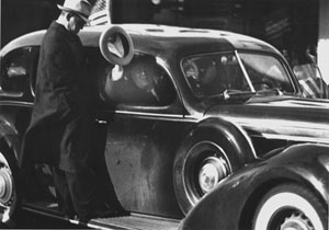 President Franklin D. Roosevelt in automobile.