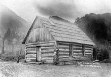 Historic photo of a schoolhouse in the Quinault Valley