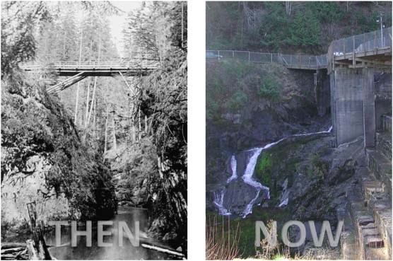 Comparative photos of the Elwha River channel before and after dam construction