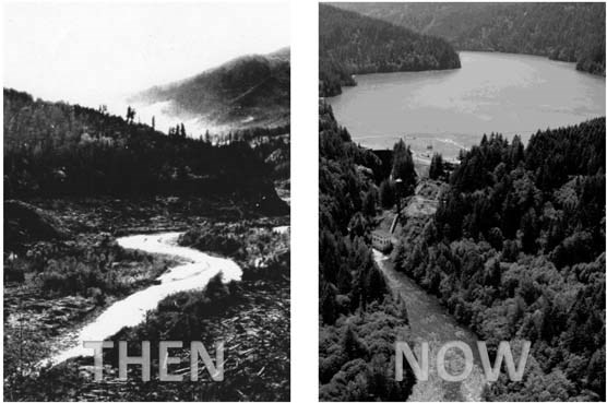 Photos of the Elwha River channel at the site of Lake Mills before and after dam construction