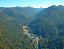 An aerial photo of gravel bars along the Elwha River