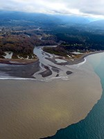 Aerial view of the mouth of the Elwha River.