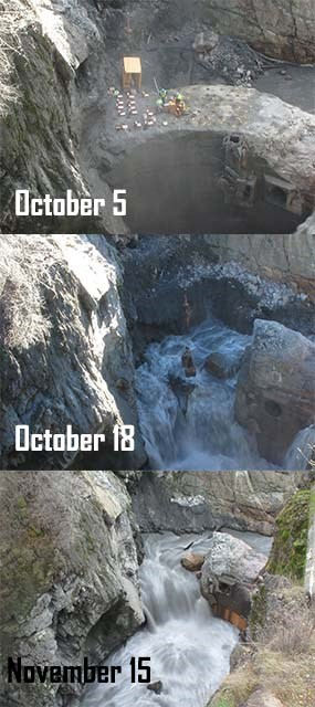 Series of photos before and after blast at Glines Canyon Dam.