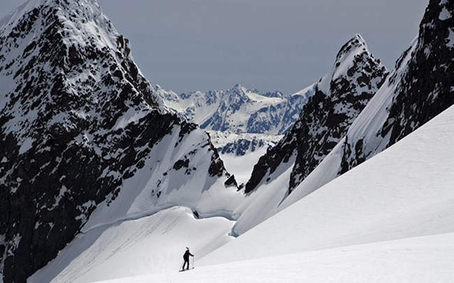 A researcher skies across a glacier.