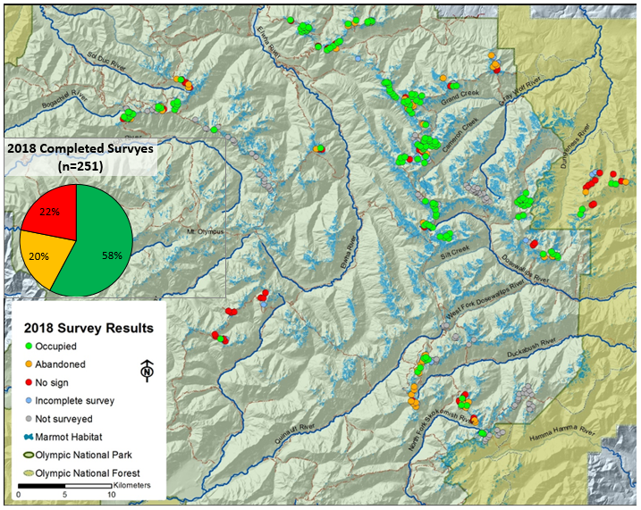 Survey map of units surveyed and signs of marmot occupancy
