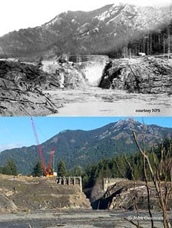 View of the Glines Canyon Dam during constuction and from approximately the same location eighty-six years later