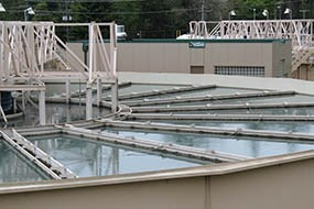 Clarifier at the Elwha water treatment plant.