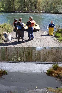 Photo of the Elwha River in May 2011 and December 2012