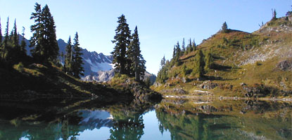 narrow trees and open slope reflected in still mountain lake water with snowy peak in background