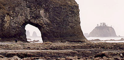 offshore islands in fog are beyond eroded arch in rock cliff in front