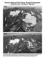 Comparison images of a glacial peak, the top image showing large amounts of glacial ice, the bottom image showing almost none.