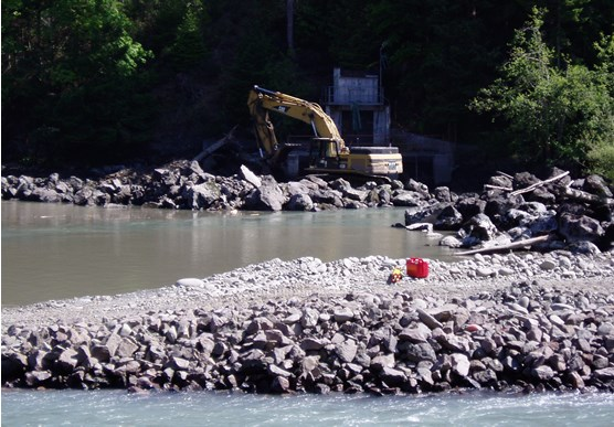 Elwha River -- temporary diversion channel in foreground