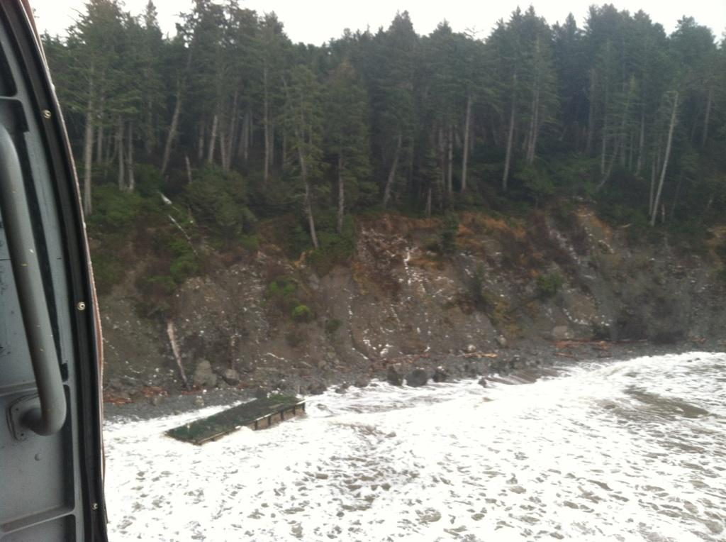 Aerial photo of missing dock washed ashore on wilderness coastline in Olympic National Park.