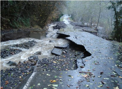 brown water flows alongside a damaged road