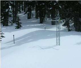 weather instruments in snow-covered forest clearing