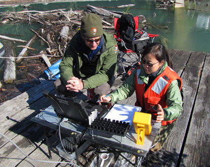 Two fisheries biologists, Sam Brenkman of the National Park Service and Meimei Li of the U.S. Fish and Wildlife Service, input tagging information to a computer on the dock at Lake Mills.