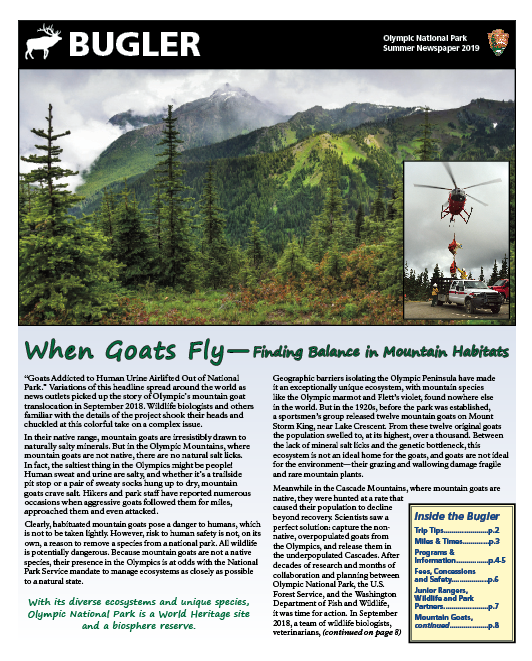 The front page of the summer 2019 Bugler newspaper. A mountain scene with an inset of mountain goats suspended from a helicopter in flight.