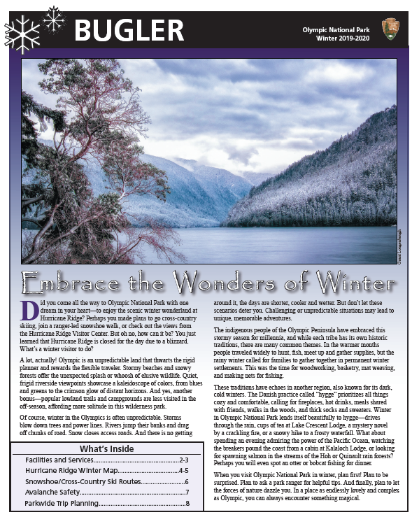 The front page of the winter 2019-2020 Bugler newspaper. A mountain scene with an inset of mountain goats suspended from a helicopter in flight.