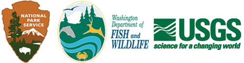 logos from National Park Service, Washington Department of Fish and Wildlife and United States Geological Survey