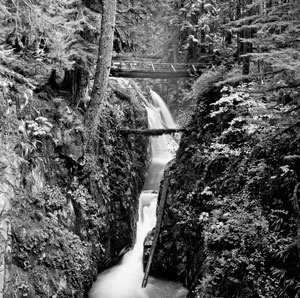 black and white image of Sol Duc Falls