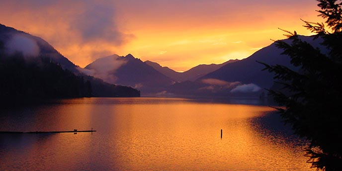 Lake Crescent at sunset.