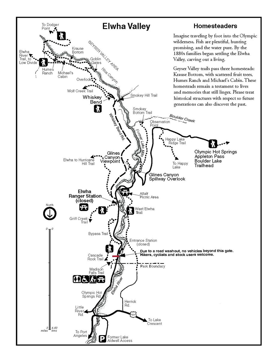 Map of roads and trails in the Elwha Valley