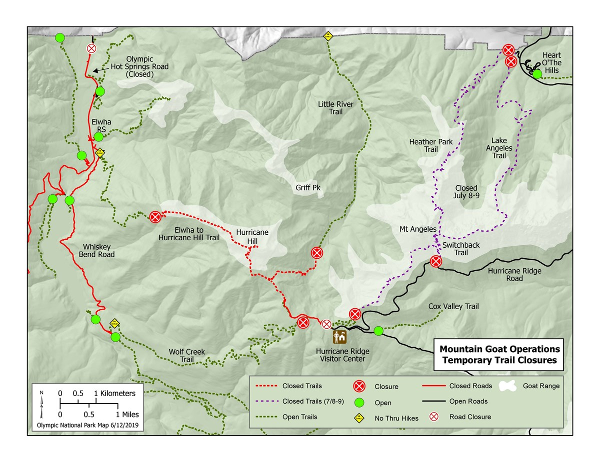 Map of Closures at Hurricane Ridge for Goat Capture Operations July 2019
