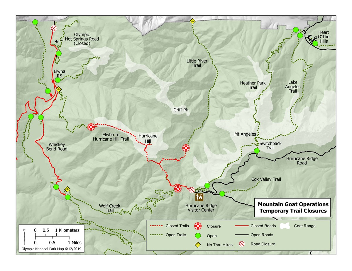 Map of Closures at Hurricane Ridge for Goat Capture Operations summer 2020