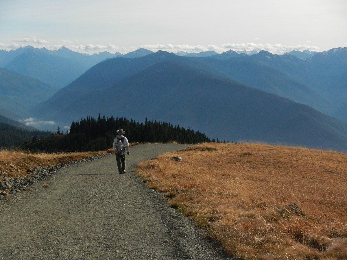 A hiker on a wide gravel trail with mountains in the distance.