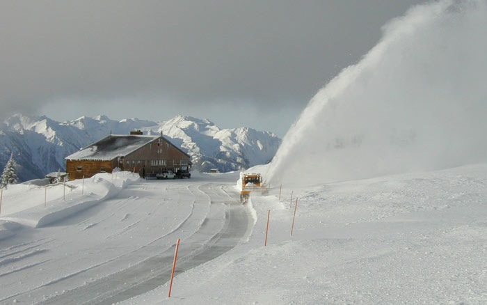 Snowblower clears parking lot at Hurricane Ridge.