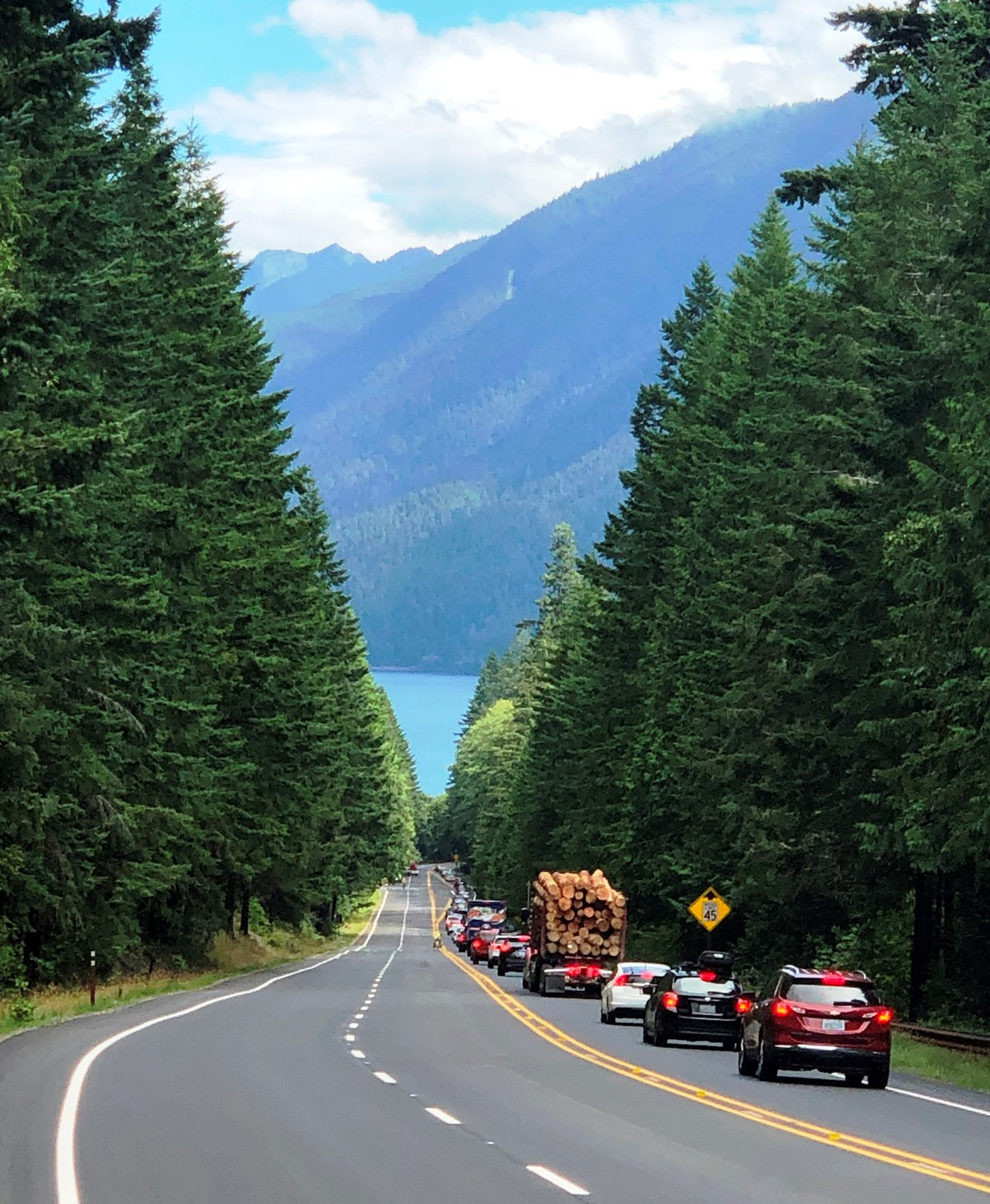 Traffic on Highway 101 at Lake Crescent
