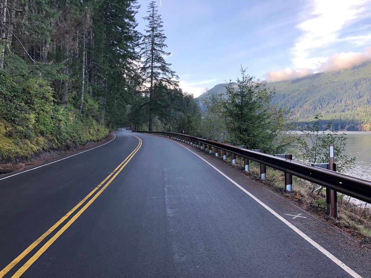 New guardrail along Highway 101 at Lake Crescent