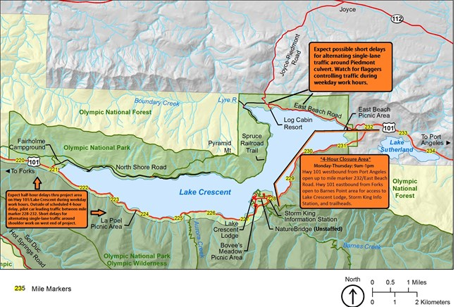 Map of road work delays at Lake Crescent