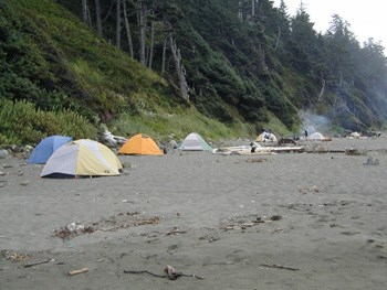 Tents at Shi Shi Beach