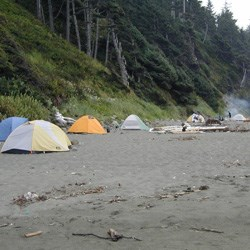 Tents along Shi Shi Beach