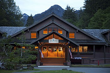 Sol Duc Hot Springs Resort main entrance at night.