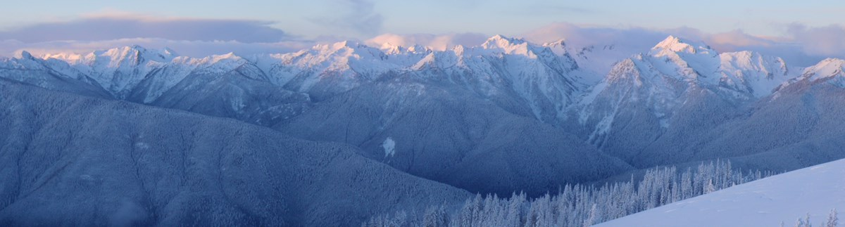 Snow capped mountain panorama.