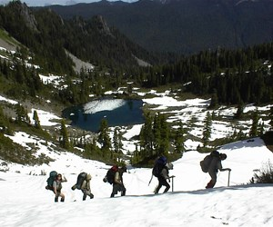 Rangers training on snow above Round Lake