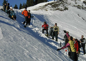 Rangers, snow plow drivers, ski patrollers, mountain rescue volunteers analize the snowpack at Hurricane Ridge