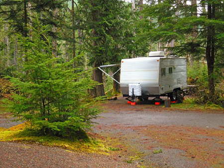 Camping trailer at Heart of the Hills campground