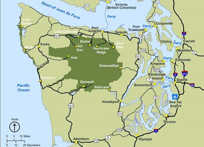 Washington State Map Seattle.Directions And Transportation Olympic National Park U S National