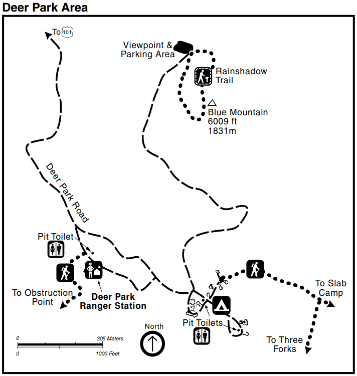 A map of the Deer Park area including raods, trails, Blue Mountain peak, campground, pit toilets, and the Deer Park Ranger Station.