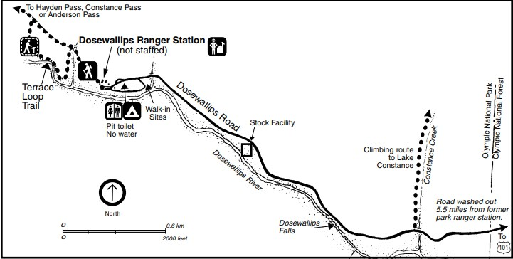 A map of the Dosewallips area, including roads, the Dosewallips River, hiking trails, a ranger station, and a campground.