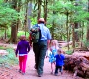 forest with ranger and kids