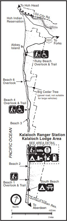 A map of the Kalaloch area, including beaches, roads, overlooks, trails, and Kalaloch Ranger Station and Kalaloch Lodge