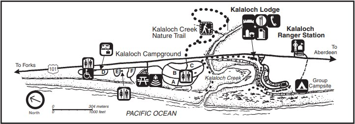 A map of the Kalaloch Ranger Station and Kalaloch Lodge area, including the Pacific Ocean, Highway 101, trails, and camping areas.